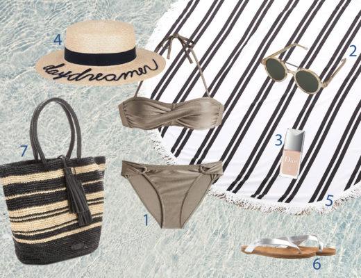 bikini taupe-summer-beach-wishlist-ralph lauren strandtasche-esprit-komono sonnenbrille-rundes strandhandtuch