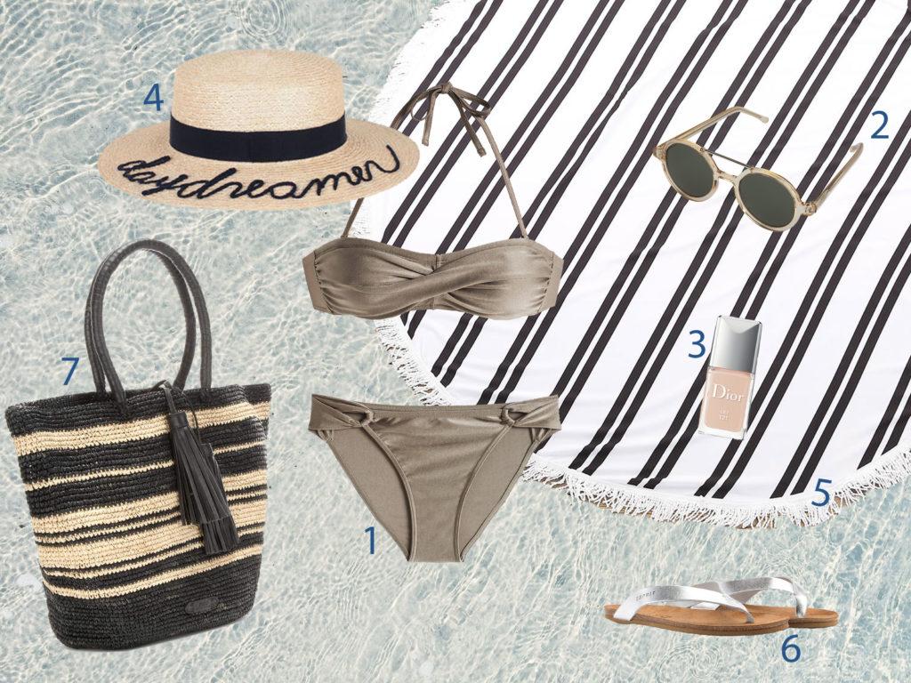 bikini taupe-summer-beach-wishlist-ralph lauren strandtasche-esprit-komono sonnenbrille-rundes strandtuch